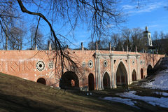 Large bridge across the ravine in Tsaritsyno Park in Moscow Royalty Free Stock Photography