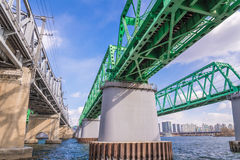Large bridge highway over the river in Seoul, Korea Royalty Free Stock Photos