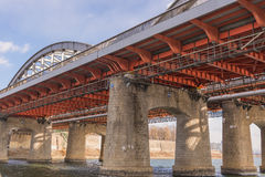 Large bridge highway over the river in Seoul Stock Photo