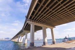Large bridge highway over the river in Seoul, Korea. Stock Photo