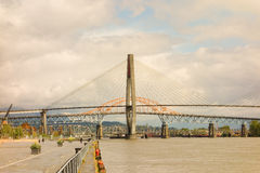 A large bridge spanning vancouver's fraser river Royalty Free Stock Photography