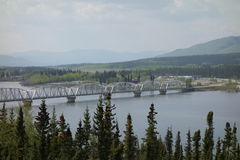 A large bridge spanning the yukon river Royalty Free Stock Image