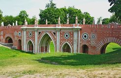 Large Bridge in Tsaritsyno. Bridge over the Grand ravine in Tsaritsyno Royalty Free Stock Image