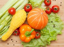 Large bright assortment of fresh vegetables Stock Images