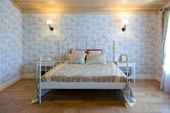 Large bright bedroom. In shades of gray Royalty Free Stock Photography