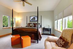 Large bright modern bedroom interior. Royalty Free Stock Photo