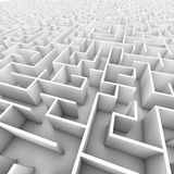 Large Bright White Walled Maze Royalty Free Stock Photos