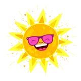 Large bright yellow sun in sunglasses Stock Image