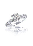 Large brilliant cut modern diamond engagement wedding ring stock image