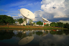 Large broadcast radars, satellite dishes, or radio telescopes Stock Image