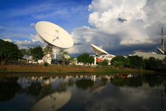Large broadcast radars or satellite dishes Royalty Free Stock Image