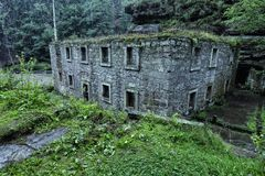 Large broken mill house in the woods in rain. Large broken mill house covered by fern in the woods in rainy weather Royalty Free Stock Photos