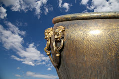 Large bronze bowl to extinguish fire with image Chinese dragon Stock Images