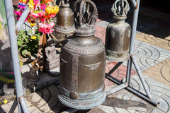Large bronze buddhist bell at Phra Borommathat temple Tak Province ,Thailand Stock Photos