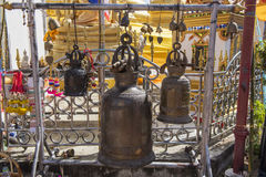 Large bronze buddhist bell at Phra Borommathat temple Tak Province ,Thailand Stock Photo