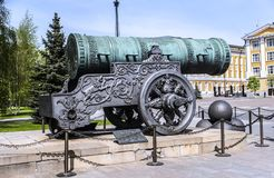Tzar Pushka. A large bronze cannon was cast in 16th century. it is a major tourist attraction in the ensemble of the Moscow Kremlin Stock Photo