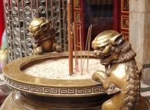 Large Bronze Incense Burner. A large ceremonial bronze vessel used for the burning of incense Stock Image