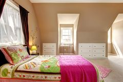 Large brown baby girl bedroom interior. Stock Images