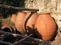 Large brown rustic clay pots Royalty Free Stock Photo