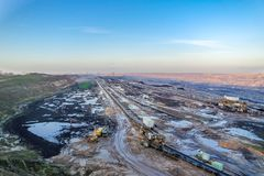 A large brown coal open cast pit mine by Garzweiler in Germany.  stock photo