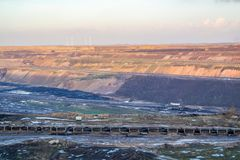 A large brown coal open cast pit mine by Garzweiler in Germany.  royalty free stock photos