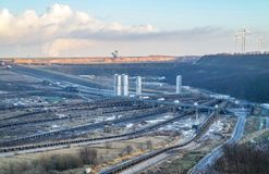 A large brown coal open cast pit mine by Garzweiler in Germany.  stock photos