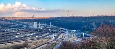 A large brown coal open cast pit mine by Garzweiler in Germany.  stock photography