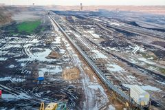 A large brown coal open cast pit mine by Garzweiler in Germany.  royalty free stock photography