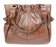 Large brown ladies handbag, isolated Royalty Free Stock Images