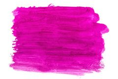 A large brush spot purple gouache on white. Bright purple gouache paint on white paper. texture for design and text stock illustration