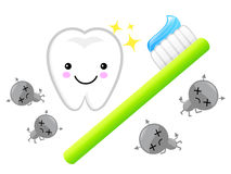 Large brush teeth and bacteria. Education and life Character Des Royalty Free Stock Photography