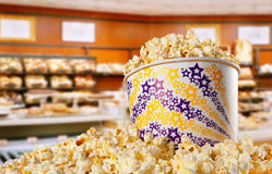 Large bucket of popcorn Stock Photos