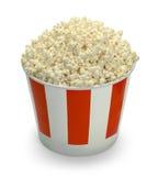 Large Bucket of Popcorn. Large Full Bucket of Popcorn Isolated on White Background stock photo