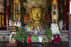 Large Buddha Statue inside a temple, Ladakh Royalty Free Stock Photo