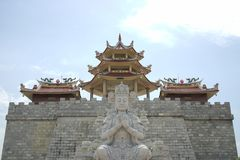 A large Buddhist monastery and huge pagoda and ornaments typical of China stock photography