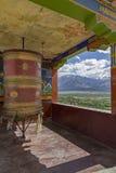 Large buddhist prayer wheel, Ladakh Stock Photos
