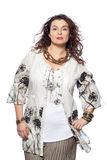 Large build caucasian woman spring summer fashion Royalty Free Stock Images