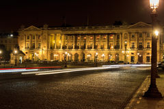 Large building on the Place de la Concorde at midnight Stock Images