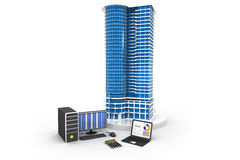 Large building skyline with computer stock illustration