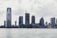 New York Skyline on a sunny day. Large buildings in New York City on a clear afternoon in July Royalty Free Stock Image