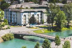 Large buildings to receive the pilgrims who come on pilgrimage. LOURDES, FRANCE - June 22, 2017 : example of large buildings to receive the pilgrims who come on Stock Photos
