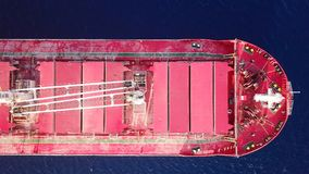 Large Bulk carrier at sea - Aerial image Royalty Free Stock Image
