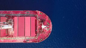 Large Bulk carrier at sea - Aerial image Royalty Free Stock Photography