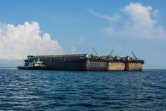 Large bulk carrier. Three large bulk carrier ships in harbour Stock Photo