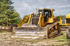 Large bulldozer at construction site Stock Images