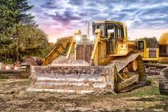 Large bulldozer at construction site Stock Photos