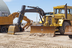 Large bulldozers on construction site Stock Photography