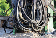 large bunch of cables at the construction site for the   road junction in Moscow. Royalty Free Stock Image
