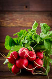Large bunch of fresh Organic vegetables, radish on old wooden table. Closeup Stock Images