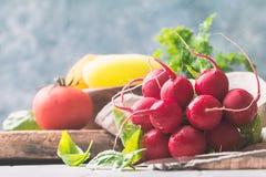 Bunch of fresh radish on dark boards, closeup. Large bunch of fresh radish on white wooden table, closeup Royalty Free Stock Photos
